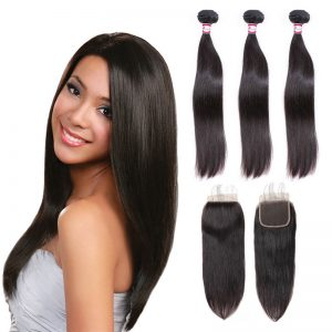 straight hair 3 bundles with closure